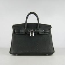 Hermes Birkin 25cm Handbag 6068 black silver
