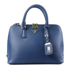 Prada 0812 dark blue cross pattern tote bag